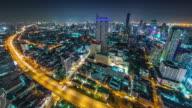 thailand night traffic road bangkok roof top panorama 4k time lapse video
