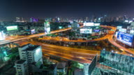 thailand night traffic rush road junction bangkok city panorama 4k time lapse video