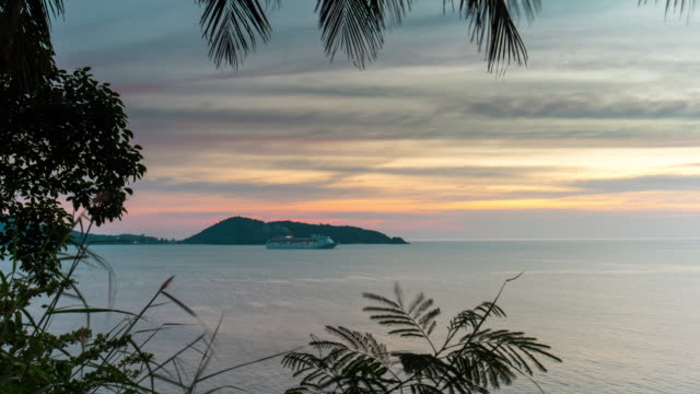 thailand patong beach bay sunset sky cruise liner park panorama 4k time lapse phuket video