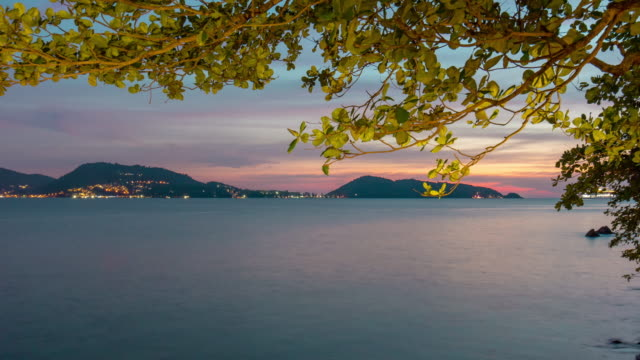 thailand patong beach sunset cruise liner landing bay panorama 4k time lapse phuket video