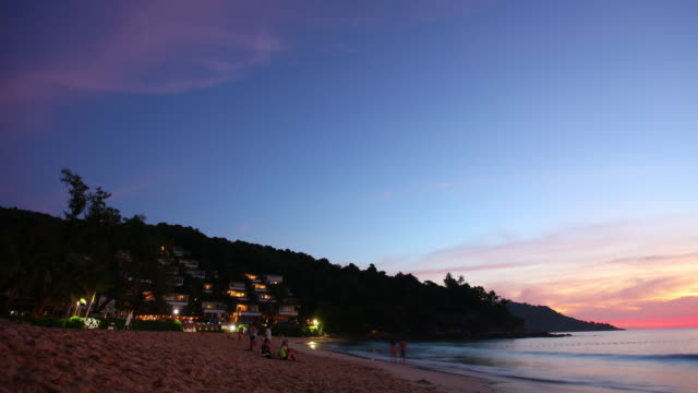 thailand phuket island famous cozy kata noi beach sunset panorama 4k time lapse video