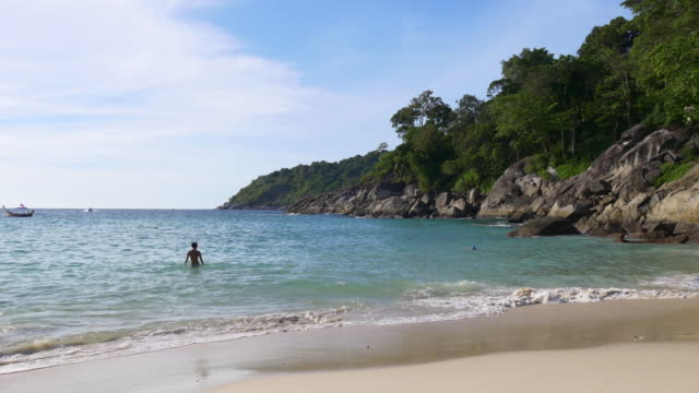 thailand phuket island famous private freedom beach panorama 4k video