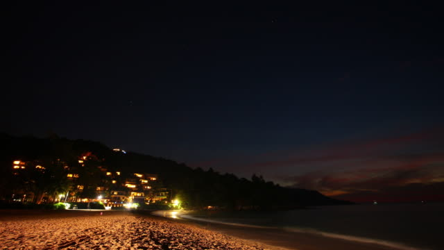 thailand phuket island sunset night kata noi beach hotel panorama 4k time lapse video