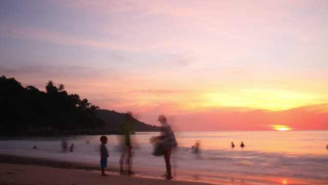 thailand phuket tourist famous swimming kata noi beach sunset panorama 4k time lapse video