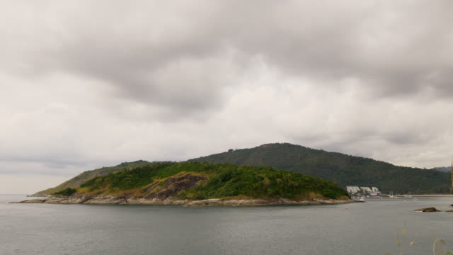 thailand rainy sky phuket island resort point view panorama 4k video