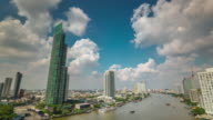 thailand summer day bangkok city river panorama 4k time lapse video