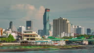 thailand summer day bangkok main river city panorama 4k time lapse video