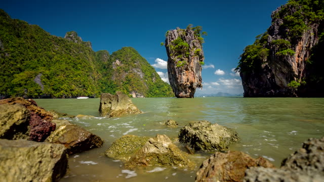 thailand summer day famous james bond island panorama hd phuket video