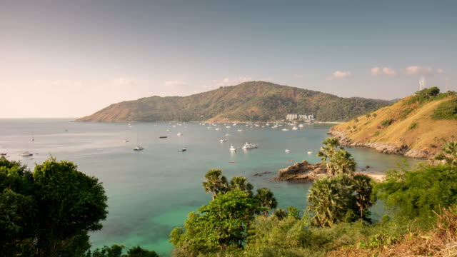 thailand summer day phuket island famous view point bay panorama 4k time lapse video