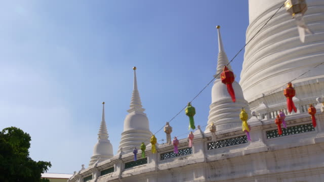 thailand sun light white temple colored decoration 4k bangkok video