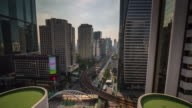 thailand sunny day bangkok downtown street roof top panorama 4k time lapse video