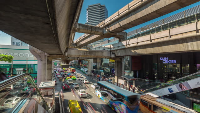 thailand sunny day bangkok metro line traffic street panorama 4k time lapse video
