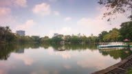 thailand sunny day lumpini park pond boat station panorama 4k time lapse bangkok video