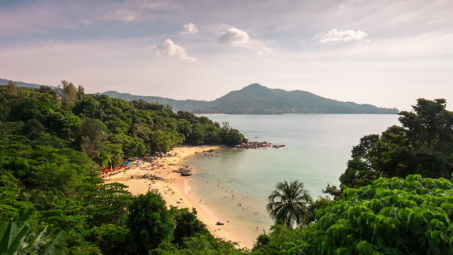 thailand sunny day phuket island famous laem sing beach panorama 4k time lapse video