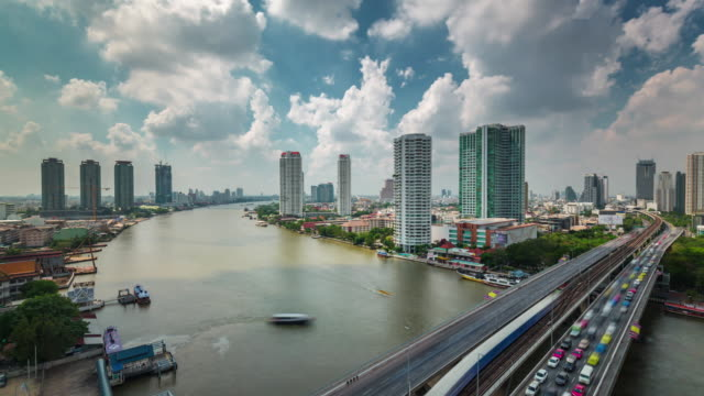thailand sunny sky clouds roof top bangkok river traffic panorama 4k time lapse video