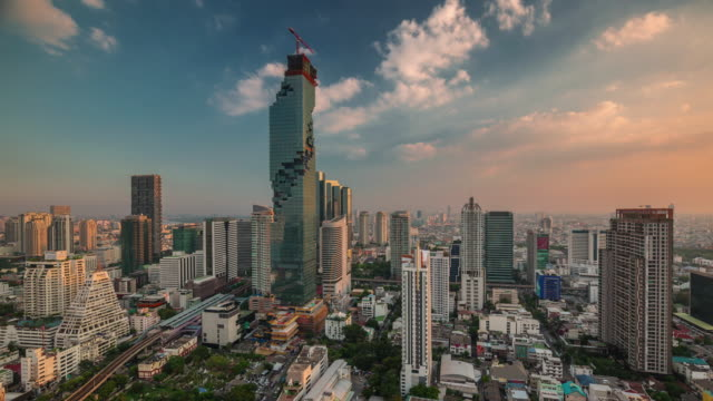thailand sunset bangkok downtown famous roof top panorama 4k time lapse video