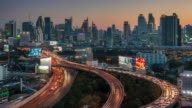 thailand sunset bangkok downtown traffic road junction panorama 4k time lapse video