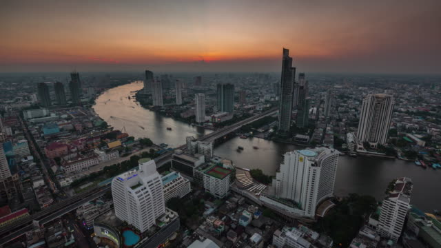 thailand sunset bangkok famous hotel roof top river panorama 4k time lapse video
