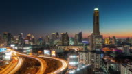 thailand sunset bangkok tallest building traffic road junction panorama 4k time lapse video