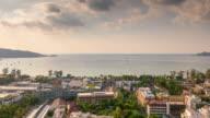 thailand sunset bhuket island beach town panorama 4k time lapse video