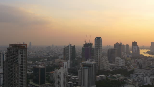 thailand sunset city centre downtown river bay roof top panorama 4k bangkok video