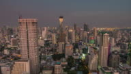 thailand sunset light bangkok downtown roof top panorama 4k time lapse video