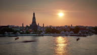thailand sunset light famous bangkok river bay temple 4k time lapse video
