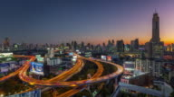 thailand sunset night bangkok traffic street road junction panorama 4k time lapse video