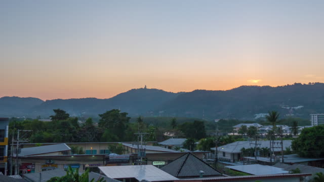 thailand sunset phuket town roof buddha mountain panorama 4k time lapse video