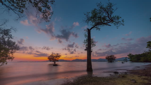 thailand sunset sky phuket island secret beach panorama 4k time lapse video