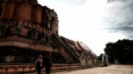 Thailand Temple Chiang Mai Wat Chedi Luang. Tourists walking video