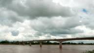 Thai-Laos friendship bridge no.1 across Mekong river at Nongkhai-Vientiane Timelapse video