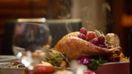 SLO MO Thanksgiving turkey on a nicely set table video