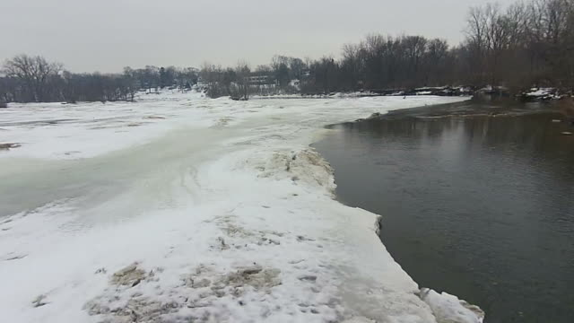 Thawing river camera moving over open water video