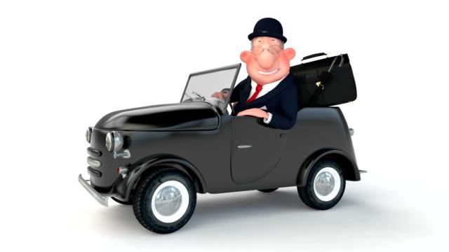 The 3D businessman costs near car. video