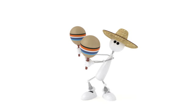 The 3D character plays on a maracas. video