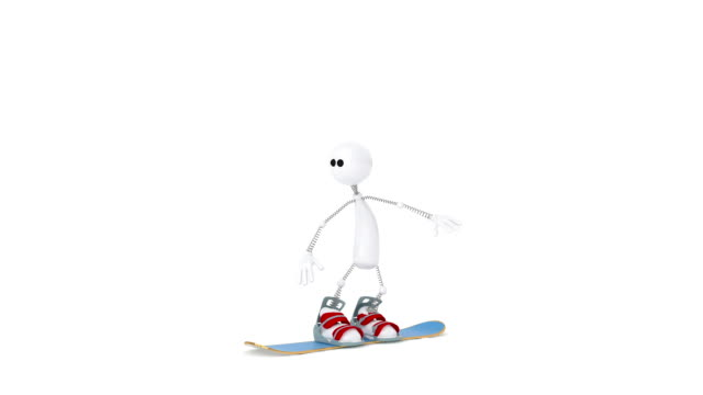 The 3D person on a snowboard. video