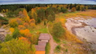 The aerial view of the Altja village in Estonia video