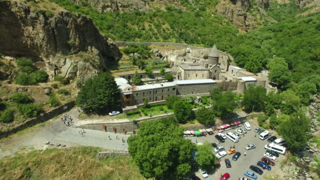 The aerial view of the ancient Armenian Geghard temple complex video