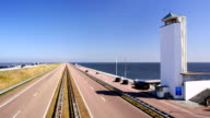 The 'Afsluitdijk' dike damming off the former Zuiderzee, The Netherlands video