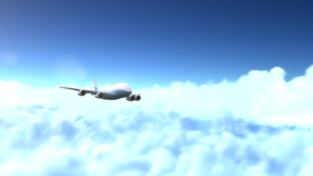 The airplane flies above the clouds video