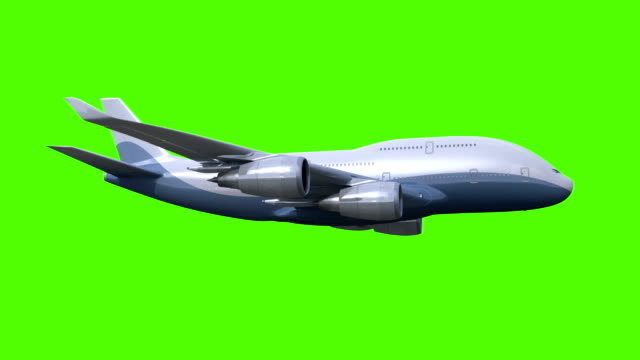 The airplane flies on green background video