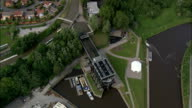 the Anderton Lift  - Aerial View - England,  Cheshire,  Anderton with Marbury helicopter filming,  aerial video,  cineflex,  establishing shot,  United Kingdom video