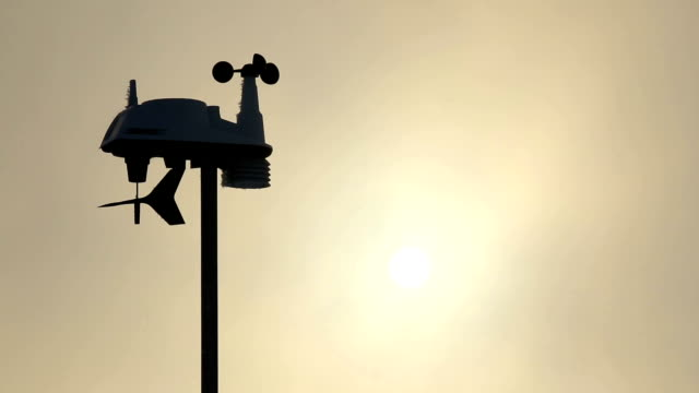 The anemometer in the sun's rays measures the wind speed. video