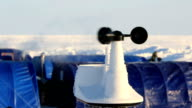 The anemometer measures wind speed in the Arctic polar station. video