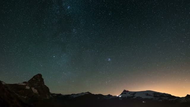The apparent rotation of the starry sky over the majestic Matterhorn or Cervino mountain peak and the Monte Rosa glaciers, italian side. Time Lapse video. video