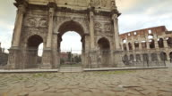 The Arch of Constantine and the Coliseum of Rome video