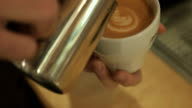 The barman drawing on the coffee with milk video