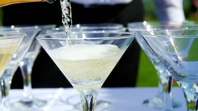 The bartender pours glasses of champagne. video