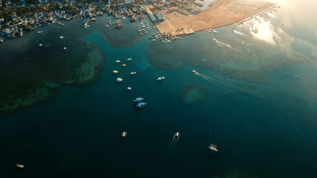 The beautiful bay with boats. Aerial view video